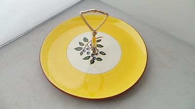 """STANGL BLUEBERRY 10"""" Tidbit Tray Yellow Blue Green Leaves PERFECT CONDITION!"""