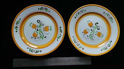 """2 STANGL YELLOW TULIP 8.5"""" salad plates dishes Mid-century POTTERY very PRETTY!"""