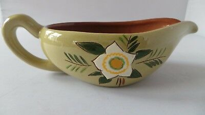 STANGL STAR FLOWER gravy boat PRETTY POTTERY green & white--perfect for holidays