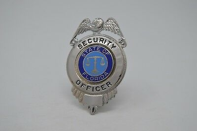 State Of Florida Security Officer Cap Device Badge With Eagle Silver Tone