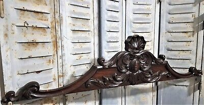 HAND CARVED WOOD PEDIMENT ANTIQUE FRENCH ARCHITECTURAL SALVAGE PANELLING 19th