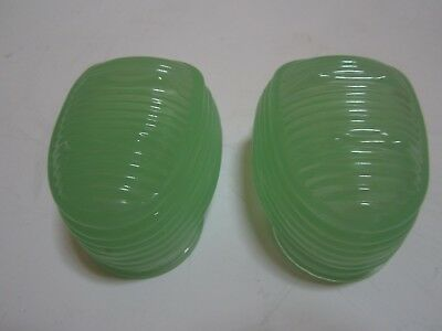 Glass classic bird cage feeders fire king green glass a pair 2 pieces