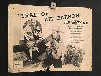 Trail Of Kit Carson 1954 Lobby Card Movie Poster Allan Rocky Lane Cowboy Western