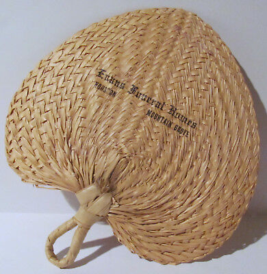 Vintage Straw Hand Fan From A Country Funeral Home In The  Early 1960's