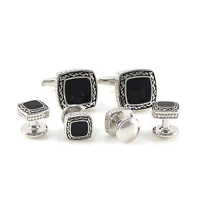 Antique Silver Soft Square Black Cuff Link And Shirt Studs Formal Wear Set 0750