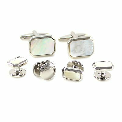 Rhodium Plated Octagon Mother of Pearl Cuff Link And Shirt Studs Formal Set 0737
