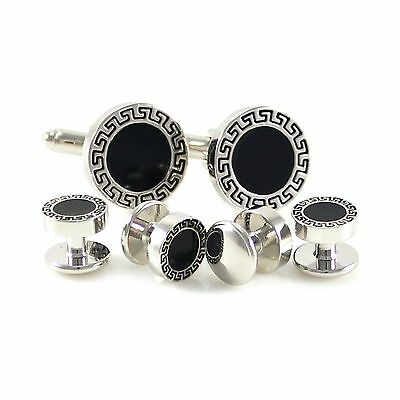 Antique Silver Tone Greek Border Round Cuff Link And Shirt Studs Set In Box 0749