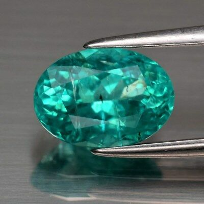 1.92ct 9.2x6.6mm Oval Natural Paraiba-Color Neon Blue Green Apatite