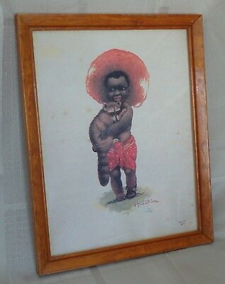Vintage Black Boy Holding Raccoon Framed Print With Glass Occupied Japan