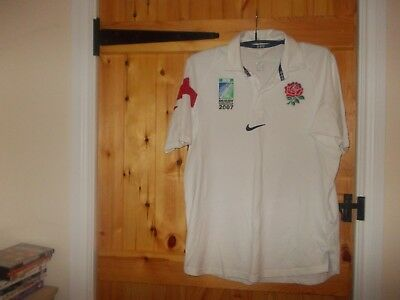 White England Irb Rugby Union World Cup 2007 Shirt By Nike In Size Large