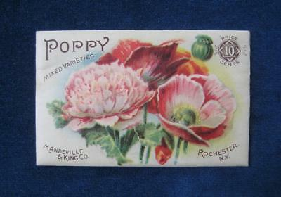Late 1890's Antique MANDEVILLE & KING Co. Seed Pack Packet:POPPY Litho