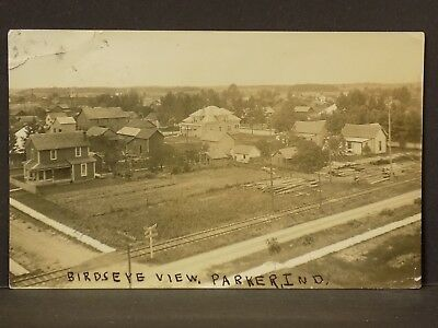 Parker (Parker City?) IN Indiana 1913 Real Photo Postcard RPPC~Birdseye View