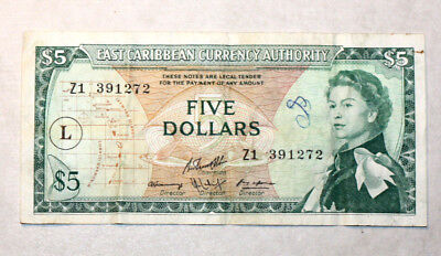 "5 Dollars,-Left "" L "" in Circle-,Bank of East Caribben States, 1965."