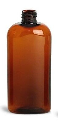 Amber Brown Cosmo Oval Shaped PET Plastic Bottle - 4oz - SET OF 2