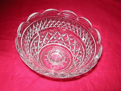 Vintage WEXFORD Scalloped Edge Anchor Hocking Candle Holder Bowl Excel Condition