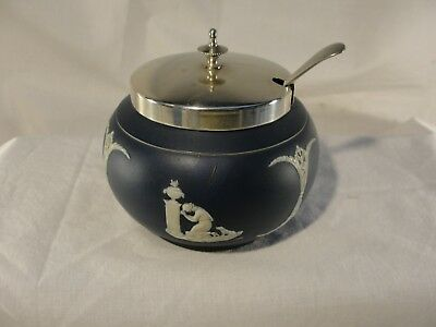 Antique Adams Tunstall England Jasper Ware Sugar Bowl Plated and Sterling Spoon