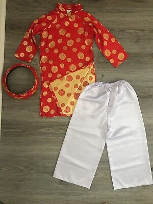 Vietnamese Ao Dai Outfit Kids Toddler Unisex Chinese New Year Size 5 Red