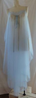 ~Cupid Nightgown Lingerie Baby Blue Sheer Chiffon One Size ~