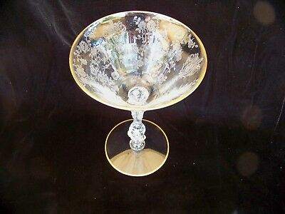One Vintage Cambridge Rosepoint Clear Etched Gold Trim Champagne Tall Sherbet