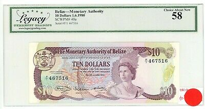 Belize ... P-40 ... 10 Dollars ... 1980 ... Choice*AU-UNC*.