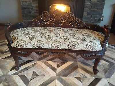 Gorgeous Victorian Antique Bench Wealthy Philadelphia Estate Deeply Carved Roses
