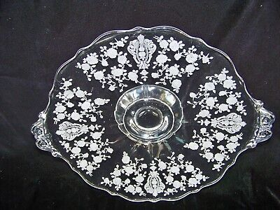 """Cambridge Rose Point Etched Two Handle Bon Bon Plate #3121 9.75"""" In Width"""