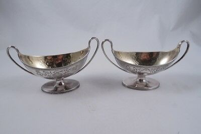Henry Chawner Sterling Silver Pair Of Salts English Georgian Boat Shaped