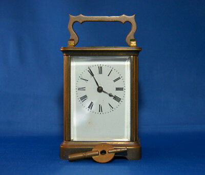 Antique French Brass Carriage Clock with Key and carrying Case.