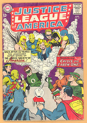 Justice League Of America #21 Crisis On Earth-One Jsa Dc Comics Silver Age G+