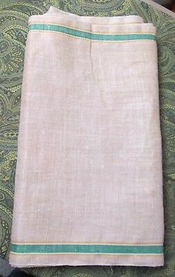 Antique Oatmeal Linen Toweling Fabric Green & Yellow Striping 7+ Yards