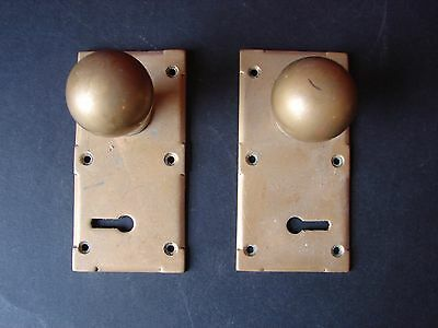 Pair of Antique Reclaimed Copper Door Knobs