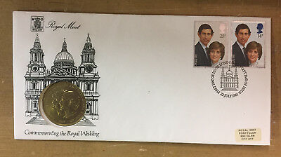 1981 Prince Charles, Lady Diana Royal Wedding Coin and First Day of Issue Stamps