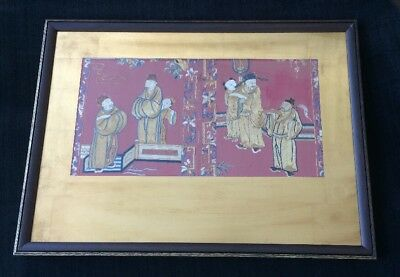 18th Century Chinese Silk Embroidered Altar Cloth Framed Chien Lung Dynasty