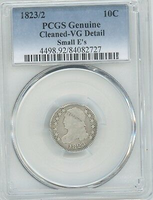 1823/2 Capped Dime,  Pcgs Graded As  Cleaned Vg Details, .10C, Small E's (Bm)