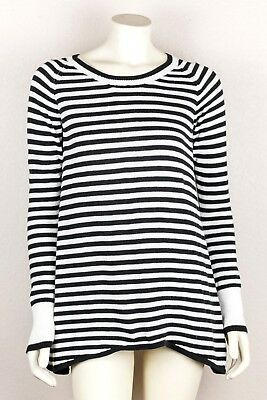 IVIVVA by Lululemon Practice Ready Black White Striped Sweater Long Sleeve 14