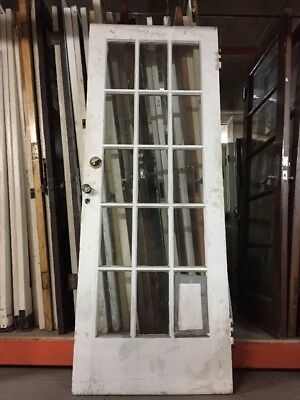 "French door Old Exterior 15 Light Single French Door 78 1/2"" X 30 antique"