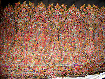 """Huge Antique 19th C. Paisley Wool Shawl / Blanket / Fabric 58"""" x 106""""  As Is"""