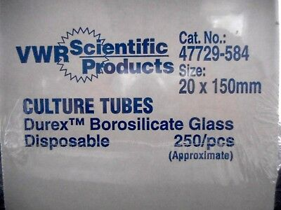 VWR Glass 20 x 150mm Culture Tubes Borosilicate Disposable Approx. 250 47729-584