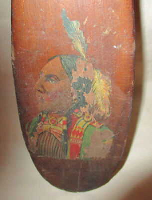 Antique Paddle Hand Painted Native American Accent Wood Niagra Falls