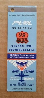 Phillips 66 Flite-Fuel (Aviation Gasoline) Advertising Match Cover,1940's