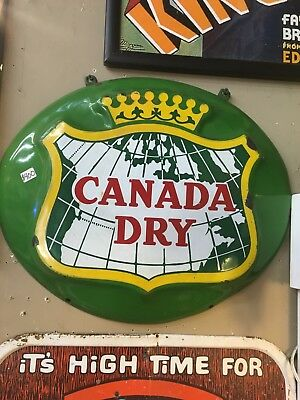 Porcelain Oval Canada Dry Soda Sign
