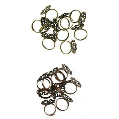 10Pcs Vintage Adjustable Base Element Brass Filigree Flower Cup Ring Base Blank