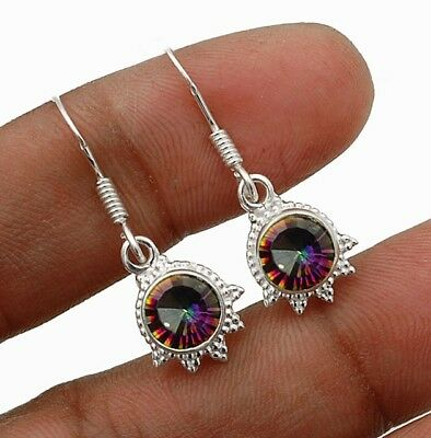 """Color Changing Rainbow Topaz 925 Sterling Silver Earrings Jewelry 1 1/4"""" Long"""