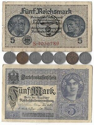 Rare Very Old WWI WWII Nazi Germany War Eagle German Coin Note Collection Lot WW