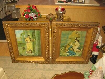 Pair Of Large Antique Religious Gesso Picture Frames Very Ornate 28' X 32""