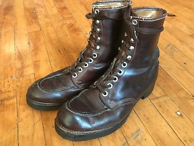VTG 50's Leather Moc Toe Brown Work Boots Cats Paw Red Wing 40's Lace Up 11 11.5