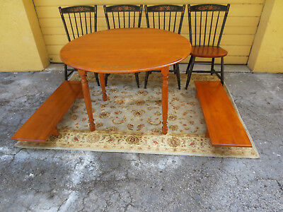 Vintage Hitchcock  maple dining table and four chairs set