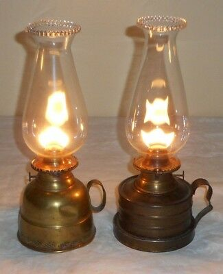 Lot of 2 1866 Perkins House &Miller Non-Explosive Finger Lamps Hold Oil Working!