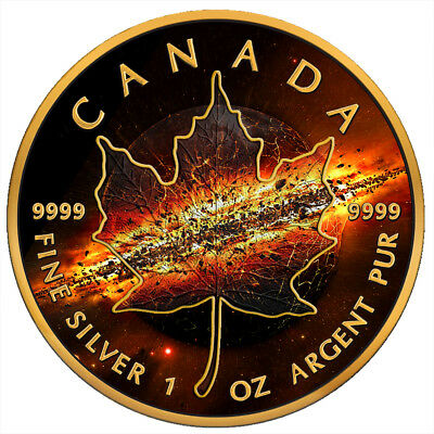 Canada 2017 5$ Maple Leaf Apocalypse II 1oz Black Ruthenium Silver Coin