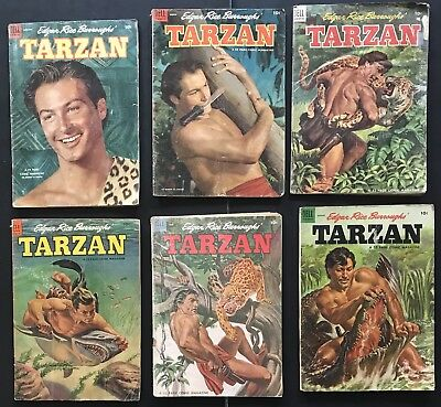 TARZAN: GOLDEN AGE DELL COMIC LOT. Burroughs. Lex Barker. Free Shipping. Korak.
